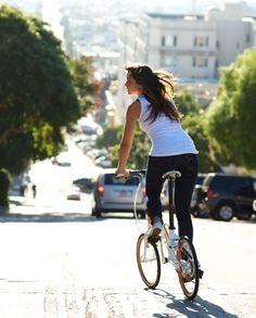 Tern Verge folding bike girl