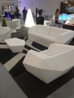 Stark white, geometric outdoor furniture was a real talking point! Even better when it illuminates...