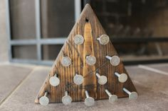 Personalized Walnut stained rustic triangle peg board game barn wood - Man Cave - Wedding Table games and centerpieces Diy Wedding Decorations, Wedding Centerpieces, Centerpiece Ideas, Wedding Yard Games, Wood Games, Walnut Stain, Simple Weddings, Barn Wood, Wood Crafts