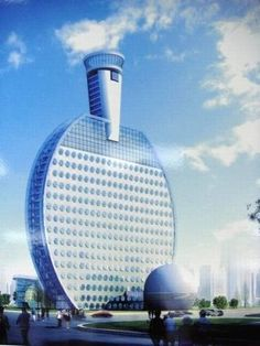 East China city to build ping-pong hotel. A hotel designed in the shape of a ping-pong racket will be built in Huainan city, East China's Anhui province! Unusual Buildings, Interesting Buildings, Amazing Buildings, Modern Buildings, Famous Buildings, Future Buildings, Futuristic Architecture, Beautiful Architecture, Art And Architecture