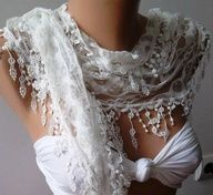 White  Elegance  Shawl / Scarf with Lacy Edge by womann on Etsy, $16.00