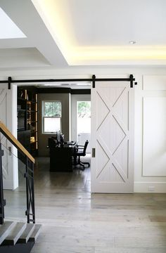INTERIOR- The doors provide privacy and reduce noise between premises. If it comes to a smaller space, sliding doors are suitable option, because the opening and closing take up less space than con… Barn Door Hinges, Diy Barn Door, Barn Door Hardware, Barn Door White, Barnwood Doors, Barn Door Pantry, Door Latches, Black Barn, Interior Barn Doors