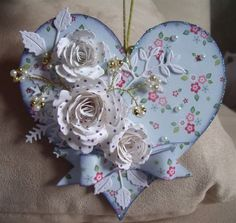Hobbies And Crafts, Crafts To Make, Arts And Crafts, Valentine Crafts, Valentines, Decoupage, Shabby Chic Hearts, Shabby Chic Christmas, Heart Crafts