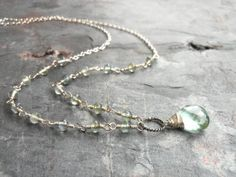 Moss Aquamarine Necklace Aqua Linked Stones Focal Briolette, Sterling Silver Wire Wrapped