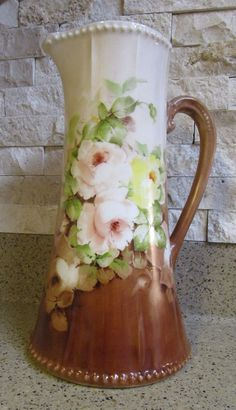 Hand-Painted Elite Limoges France Pitcher Yellow & Pink Roses With Gold Trim