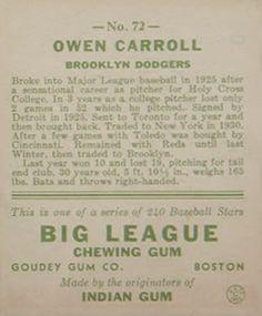 1933 Goudey #72 Ownie Carroll Back