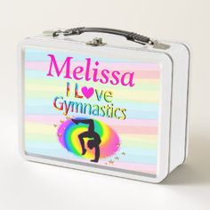 PERSONALIZED I LOVE GYMNASTICS LUNCH BOX Every Gymnast will be inspired with our awesome personalized I love Gymnastics Gifts https://www.zazzle.com/collections/i_love_gymnastics_personalized_gifts-119756173861570670?rf=238246180177746410&CMPN=share_dclit&lang=en&social=true  Gymnastics #Gymnast #WomensGymnastics #personalizedGymnast