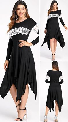 Lace Insert Ruffled Handkerchief Hem Flare Dress HOT SALES 2020, beautiful dresses, pretty dresses, holiday fashion, dresses outfits, dress, cute dresses, clothes, classy & elegant, elegant style, mode trends 2020, trending, fashion, fashion looks, moda, women, beautiful, beauty, buy, sale, shop, shopping, vestidos elegantes, vestidos fofos, vestidos bonitos Outfits Dress, Casual Dresses, Lace Insert, Asymmetrical Dress, Flare Dress, Long Sleeve, Sleeves, Clothing, Beautiful