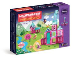Magformers Princess Castle Set (78 PCS) - Build Castles with the Magformers Princess Castle 78Pc Set. Magformers Princess resides at the Magic Castle! Watch as she looks out of her balcony or window. Follow along with the included idea booklet to build and construct a dream castle, ice castle, play castle and more! Take Magformers Princess outside to see the trees and escape the witches magic spells.