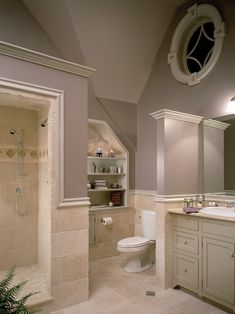 Love the wallcolor (purple/gray/brown?)  and the crown molding topped 3/4 walls.    Traditional Bathroom Design, Pictures, Remodel, Decor and Ideas - page 7