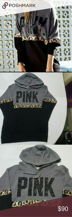 Vs pink RARE Leopard cheetah hoodie size Small In perfect condition size small (oversized) it can fit up to large. PINK Victoria's Secret Tops Sweatshirts & Hoodies
