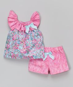 Look at this Caught Ya Lookin' Pink Cherry Blossom Top & Shorts - Infant & Toddler on today! Baby Girl Fashion, Toddler Fashion, Kids Fashion, Baby Boy Dress, Baby Girl Dress Patterns, Baby Frocks Designs, Cute Baby Shoes, Little Girl Dresses, Baby Sewing