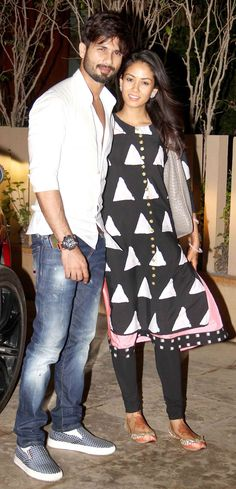 Shahid Kapoor and Mira Rajput were happy to pose for shutterbugs after reaching home in Mumbai. #Bollywood #Fashion #Style #Handsome #ShahidKiShaadi #Beauty