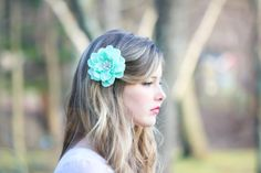 seafoam flower hair clip mint green hair clip by serenitycrystal, $32.00