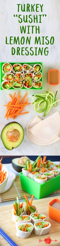 Roll up turkey with avocado and shredded cucumber and carrot for this fun lunch.