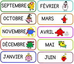 "matériel pour la date - les étiquettes mois sur le thème des "" monsieur madame "" French Education, Kids Education, French Conversation, Mr Men Little Miss, Learn To Speak French, French Worksheets, Monsieur Madame, Kindergarten Games, French Classroom"