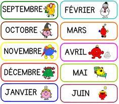 """matériel pour la date - les étiquettes mois sur le thème des """" monsieur madame…"""