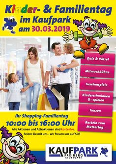 Am Samstag, den 30.03.2019 findet der diesjährige Kinder- und Familientag im Einkaufscenter Kaufpark Freiberg statt. Wir laden Alle - egal ob groß oder klein - herzlich zu uns ein! Weitere Informationen finden Sie auf unserer Homepage... Comic Books, Cover, Shopping, Stuttgart, Family Day, Shopping Center, Kids Makeup, Comic Book, Blanket