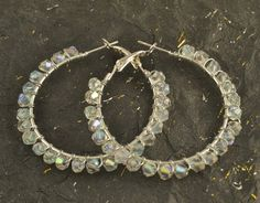 Large Silver Plate Hoop Earrings Bicone Crystals Wire by ChezChani