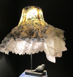 ooak country cottage, room lighting, blue and white, ruffles and lace, artist made, ooak