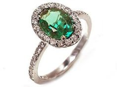 18k White Gold Fine Natural Emerald and Diamond Right Hand Ring