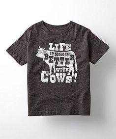 Look at this #zulilyfind! Heather Charcoal 'Life is Mooch Better With Cows' Tee - Toddler & Kids #zulilyfinds