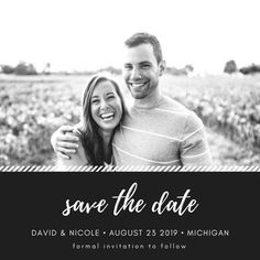 Simple Black & White Photo Save the Date Announcement Black White Photos, Black And White, Save The Date Invitations, Announcement, Dating, Couple Photos, Simple, Couple Shots, Quotes
