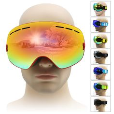 f98020402488 Snow Glasses  UV- Protection Multi-Color  double lens anti-fog lens Snowboard  Ski Goggle Eyewear Ski Mask For Men Women