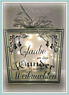 PaperPlotterLottas - CraftChaos: Beleuchteter Glasbaustein mit Weihnachts-Spruch