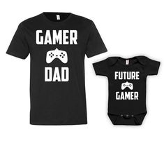 Funny Father Son Matching Shirts Future Gamer Baby Clothes Fathers Day Video Games Gifts For New Dad To Be Matching Set Bodysuit - JM125-126 by GoldenStarTees on Etsy