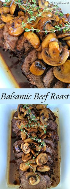 Balsamic Glazed Pot Roast ~ Slow Cooked Beef Roast in a balsamic sauce served wi… Balsamico glasierter Schmorbraten ~ Slow Cooked Beef Roast in einer Balsamico-Sauce, serviert mit Champignons ~ The Complete Savorist Roast Recipes, Slow Cooker Recipes, Crockpot Recipes, Dinner Recipes, Cooking Recipes, Easter Lunch Recipes, Easter Dinner Ideas, Beef Bourguignon, Beef Dishes