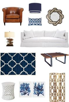 Homes with heart Create a warm and inviting home with classic navy and rich brown tones. Comfortable leather seating in chocolate, saddle brown or tan will not only be practical but it will add Navy Living Rooms, Living Colors, Coastal Living Rooms, My Living Room, Home And Living, Living Room Decor, Dining Rooms, Style At Home, Style Blog