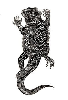 Commissioned Tribal Bearded Dragon Tattoo Design.