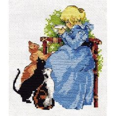 Technique: Counted Cross (Counted Cross Stitch) Cross Stitch Kit GIRL AND CATS. Producer thread: Gamma. The composition of the thread: 100% Cotton. The kit includes: floss, canvas, needle, scheme, instruction.