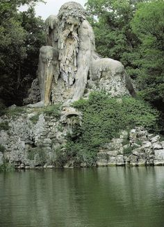 Giambologna's largest work - the 33-foot high figure of the mountain god Appennino (1577-81) - sited in the gardens of the Medici villa at Pratolino. Made from brick and stone, the god crouches above a pond and appears to have emerged from the earth.