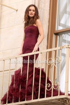 Leighton Meester Burgundy Strapless Mermaid Prom Dress Gossip Girl