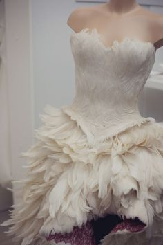 Suzie Turner feather wedding dress, would love this if it was a big full skirt Wedding Dress With Feathers, Feather Dress, Feather Cape, Wedding Show, Wedding Gowns, Wedding Season, Look At My, Feather Fashion, Fantasy Dress