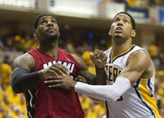 LeBron James (left), and Danny Granger of Indiana look for a rebound during game action, Miami Heat at Indiana Pacers, second round of the NBA Playoffs, Bankers Life Fieldhouse, Indianapolis, Thursday, March 17, 2012. Indiana won 94-75. Robert Scheer/The Star