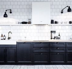 Black shaker style kitchen cupboards and white subway tiles. #shakerkitchen #monochrome #blackandwhite #kitchendesign #modernkitchen #kitchentrends #design #kitchens #inspiration