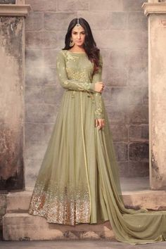 d19027f9436  Raya  Dresses 2018 - Mint Green Net Embroidered Anarkali Suit - DMV12579B  Ethnic Gown