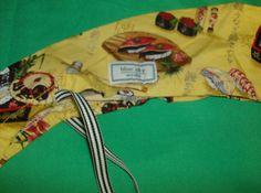 Blue Sky Scrub Hat Cap Pony Tail Ponytail Sushi Pattern Yellow Background Scrub Hat Patterns, Hat Patterns To Sew, Sewing Patterns, Scrub Caps, Yellow Background, Ponytail, Scrubs, Pixie, Sushi