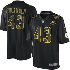 e4bd194c8 Nike Steelers #43 Troy Polamalu Black With 80TH Patch Men's Stitched NFL  Impact Limited Jersey