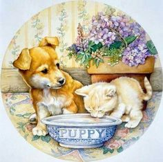 A 64 pieces jigsaw puzzle from Jigidi Animals Images, Animals And Pets, Cute Animals, Kittens And Puppies, Cats And Kittens, Decoupage, Illustrations, Cute Illustration, Dog Art