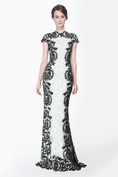 Contrast Lace Cap Sleeve Gown in Black / Ivory - Evening Gowns - Evening Shop | Tadashi Shoji