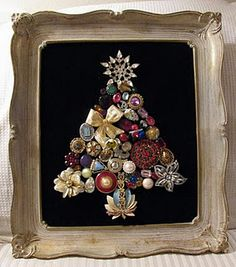 I saw this at a craft fair but it was not a Christmas tree.  it was made with lots of really pretty vintage jewelry.  I'd love to use some of my Grandmother's jewelry to display them.
