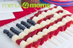 Menus4Moms: 4th of July Fruit Flag Skewers with Bananas, Strawberries, and Blueberries