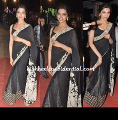 Deepika Padukone at Police Umang Show 2013 in a black and white Sabyasachi