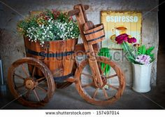 trycicle decorated with flowers | set and a vintage red tricycle isolated tricycle red tricycle