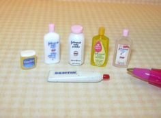 Miniature Infant/Baby Care Assortment (6): DOLLHOUSE Miniatures 1/12 Scale