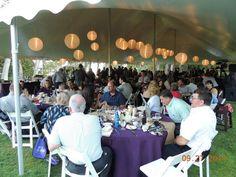 40x80 pole tent with eggplant linens, Japanese lanterns, by Taylor Rental Plattsburgh www.taylorrentalny.com